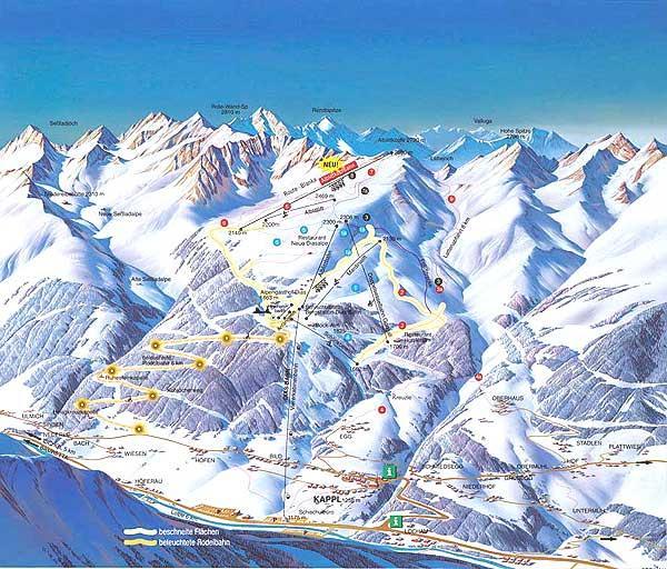 Схема трасс горнолыжного курорта Каппль