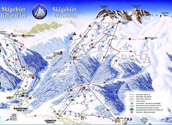 Схема трасс горнолыжного курорта Лермос-Грубигштайн
