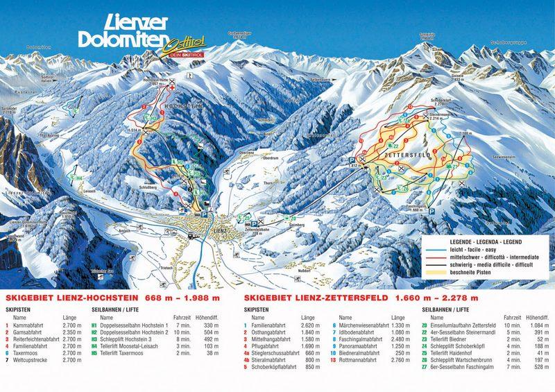 Схема трасс горнолыжного курорта Зеттерсфилд