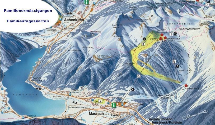 Схема трасс горнолыжного курорта Ахензее-Маурах