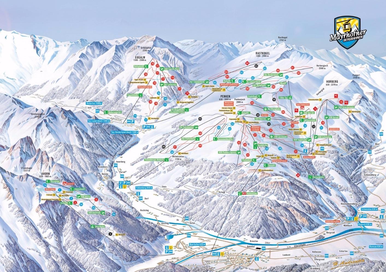 Схема трасс горнолыжного курорта Майрхофен