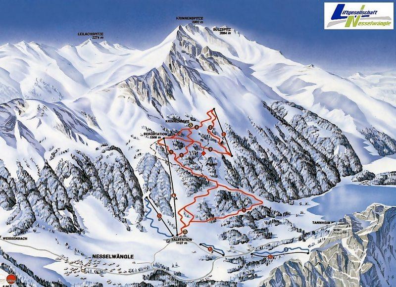 Схема трасс горнолыжного курорта Нессельванге