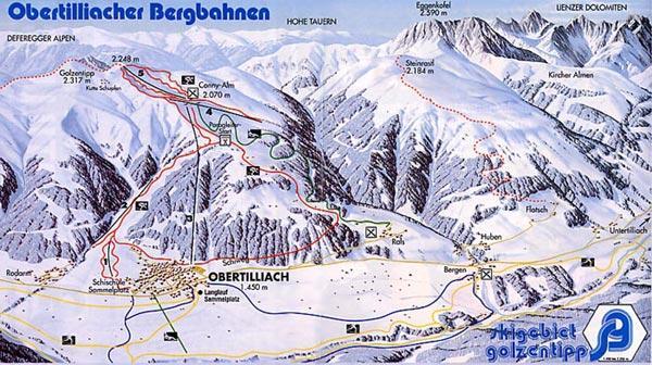 Схема трасс горнолыжного курорта Обертиллиах-Гольцентипп