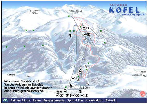 Схема трасс горнолыжного курорта Пачеркофель