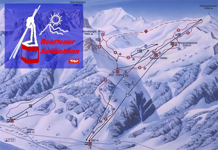Схема трасс горнолыжного курорта Ройтте-Ханенкамм