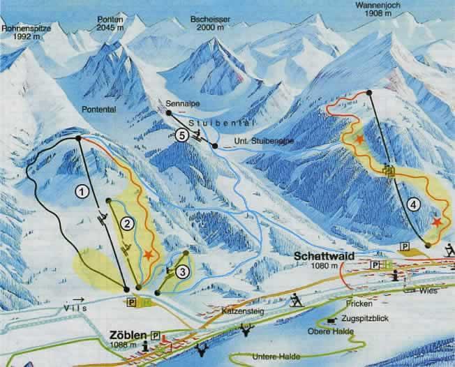 Схема трасс горнолыжного курорта Шаттвальд-Зоеблен
