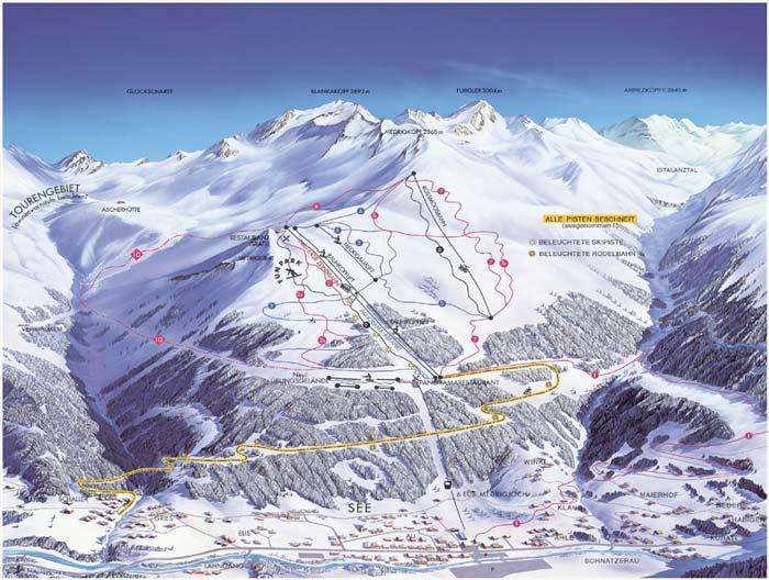 Схема трасс горнолыжного курорта Скигебет-Зее