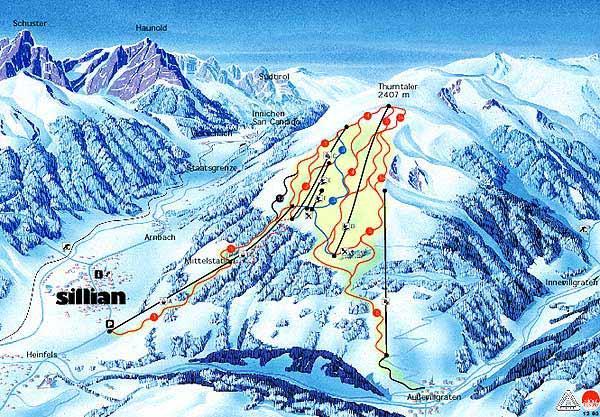 Схема трасс горнолыжного курорта Скицентрум-Зиллиан