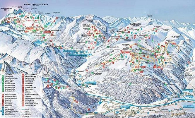 Схема трасс горнолыжного курорта Ледник-Циллерталь-3000-Тукс-Финкенберг