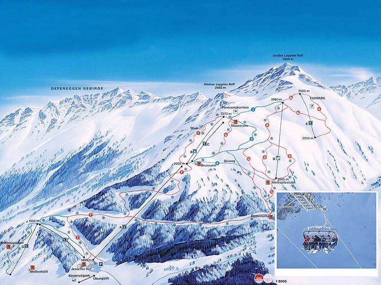 Схема трасс горнолыжного курорта Санкт-Якоб-Им-Деферегген