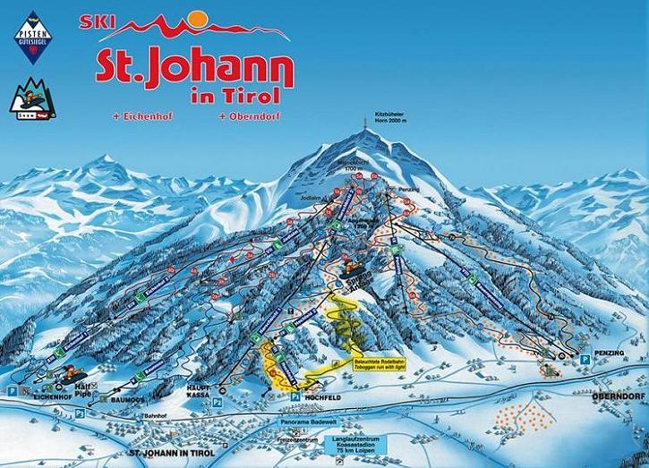 Схема трасс горнолыжного курорта Санкт-Иоганн-Ит-Оберндорф