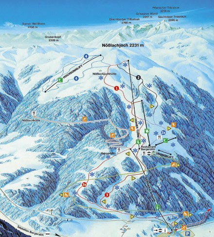 Схема трасс горнолыжного курорта Штайнах