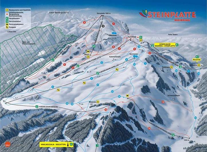 Схема трасс горнолыжного курорта Штайнплатте-Вайдринг