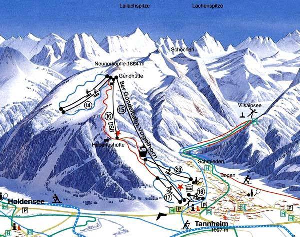 Схема трасс горнолыжного курорта Таннхайм-Ноунеркопфль