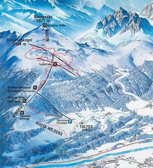 Схема трасс горнолыжного курорта Глюнгейзер