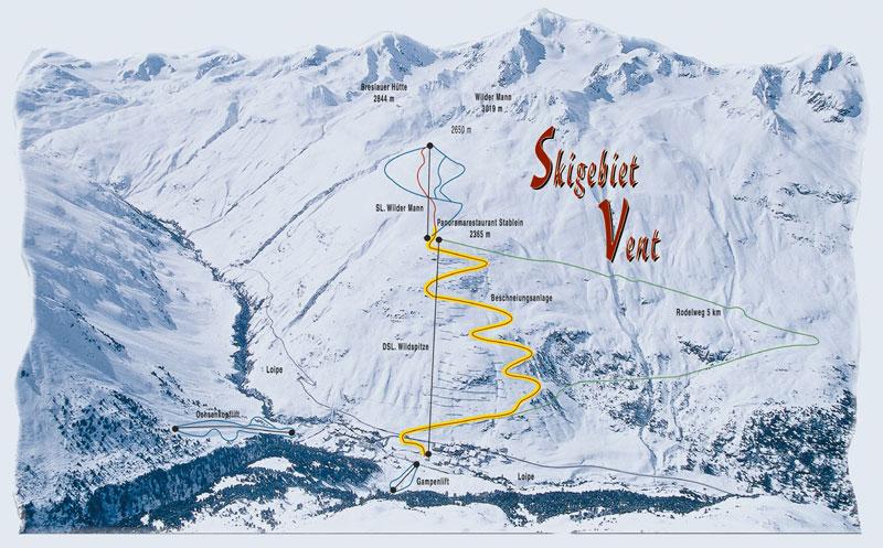 Схема трасс горнолыжного курорта Вент