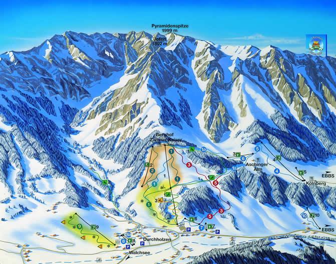 Схема трасс горнолыжного курорта Цамер-Кайзер-Вальхзее