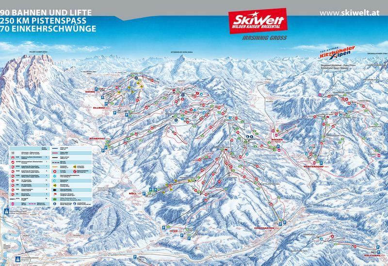 Схема трасс горнолыжного курорта Скивельт-Вильдер-Кайзер-Бриксенталь