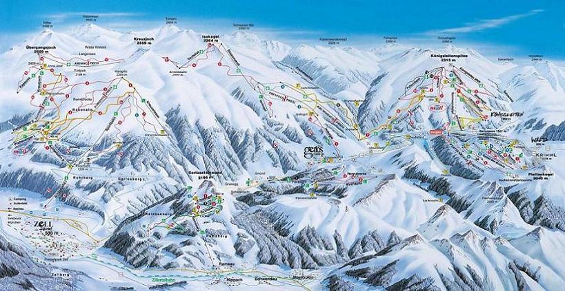 Схема трасс горнолыжного курорта Целль-Ам-Циллер-Циллерталь-Арена