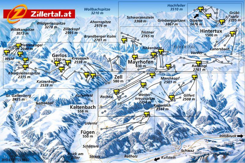 Схема трасс горнолыжного курорта Циллерталь-Арена