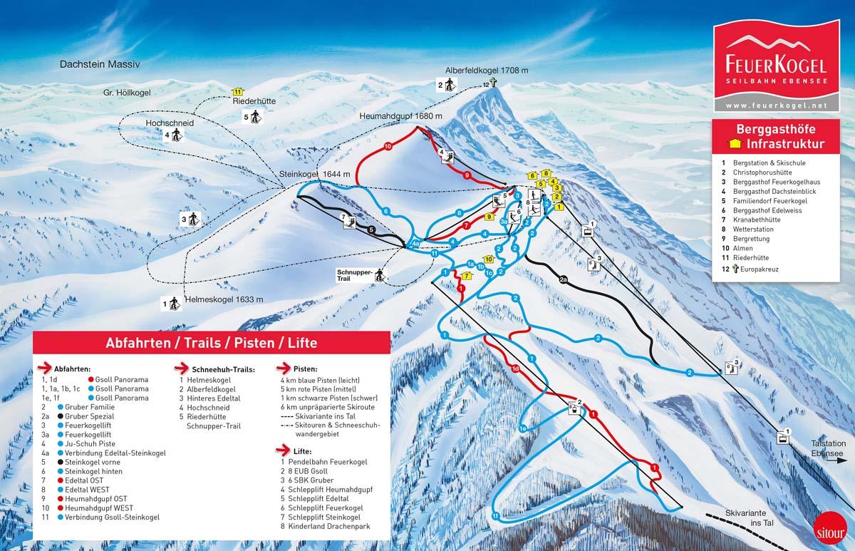 Схема трасс горнолыжного курорта Фойеркогель