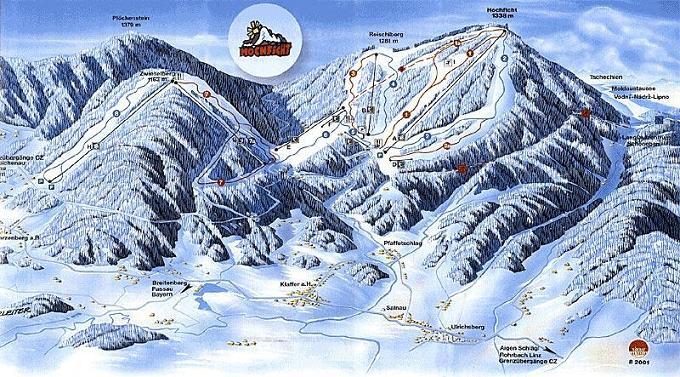 Схема трасс горнолыжного курорта Хохвич-Бохмервальд