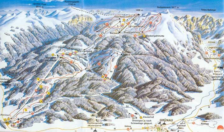 Схема трасс горнолыжного курорта Касберг-Грюнау Альмталь