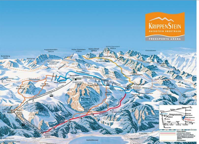 Схема трасс горнолыжного курорта Фрайспорт-Арена Криппенштайн