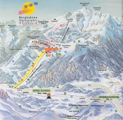 Схема трасс горнолыжного курорта Вурцеральм