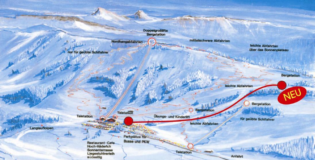 Схема трасс горнолыжного курорта Альпенарена-Хоххадерих