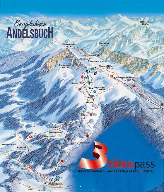 Схема трасс горнолыжного курорта Андельсбух-Нидер