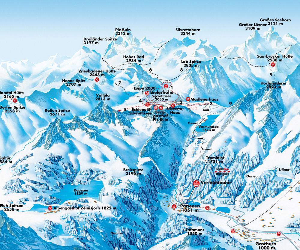 Схема трасс горнолыжного курорта Сильвретта-Билерхох