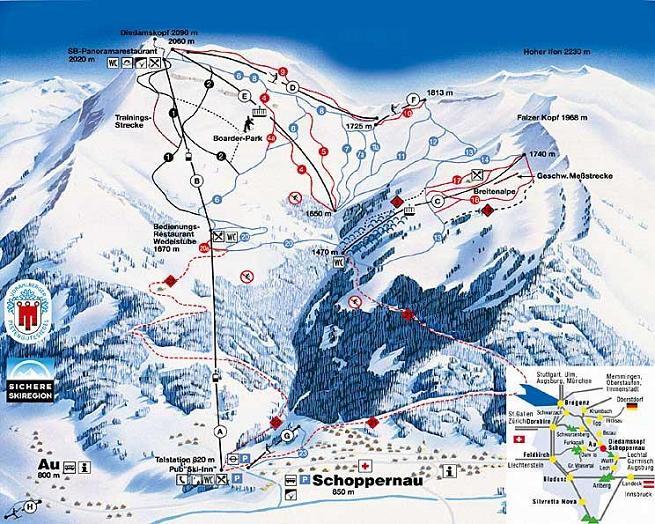 Схема трасс горнолыжного курорта Дидамскопф