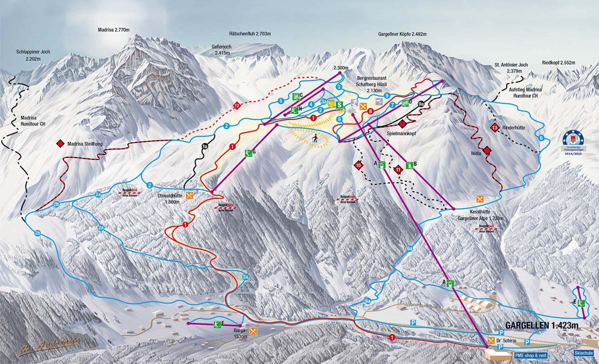 Схема трасс горнолыжного курорта Гаргеллен