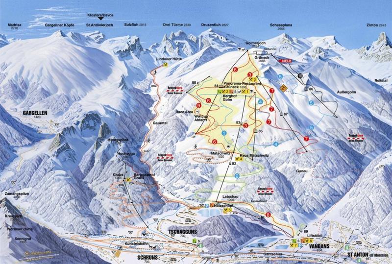 Схема трасс горнолыжного курорта Гольм