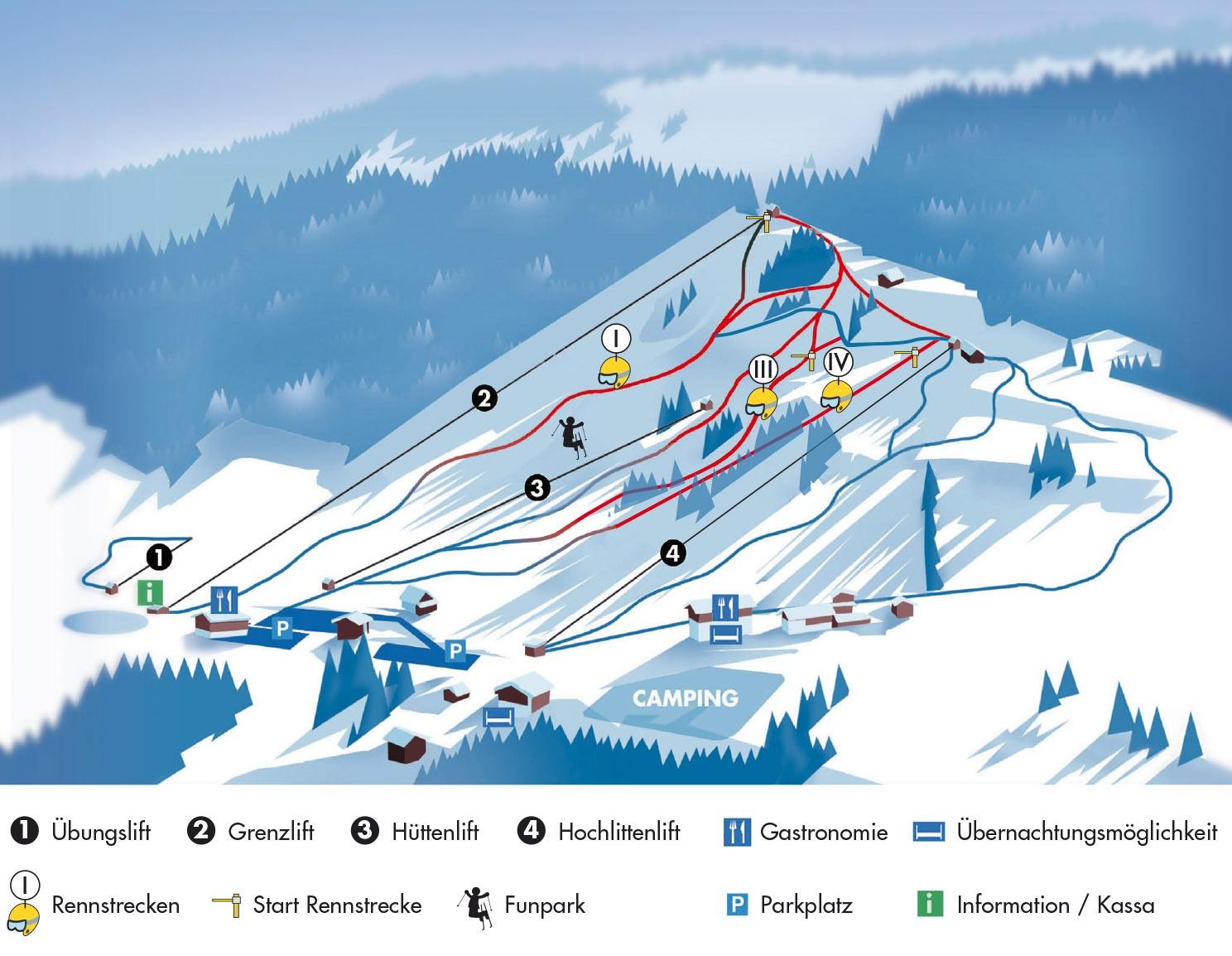 Схема трасс горнолыжного курорта Хохлитен-Рифенсберг