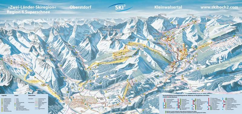 Схема трасс горнолыжного курорта Кляйнвальзерталь-Вальмендингерхольм