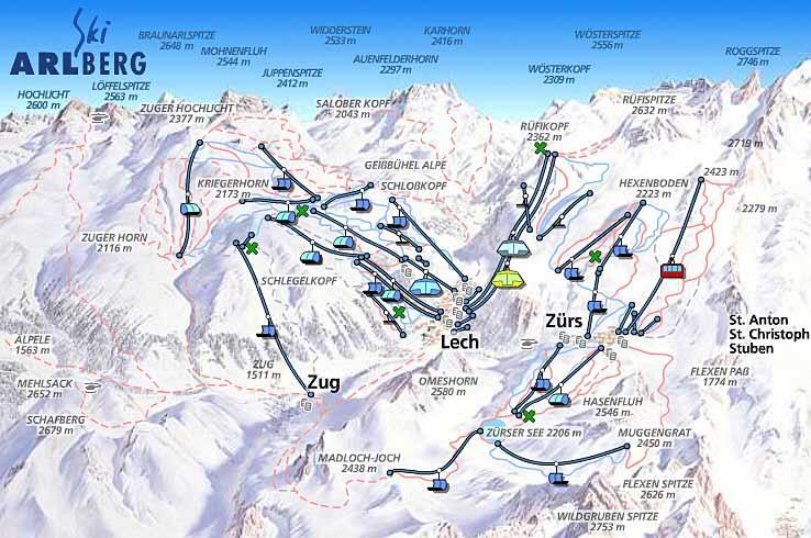 Схема трасс горнолыжного курорта Лех-Цюрс-Ам-Арльберг