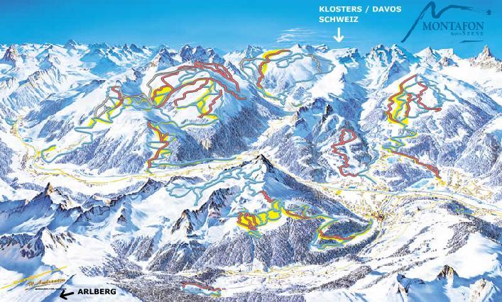 Схема трасс горнолыжного курорта Сильвретта-Монтафон
