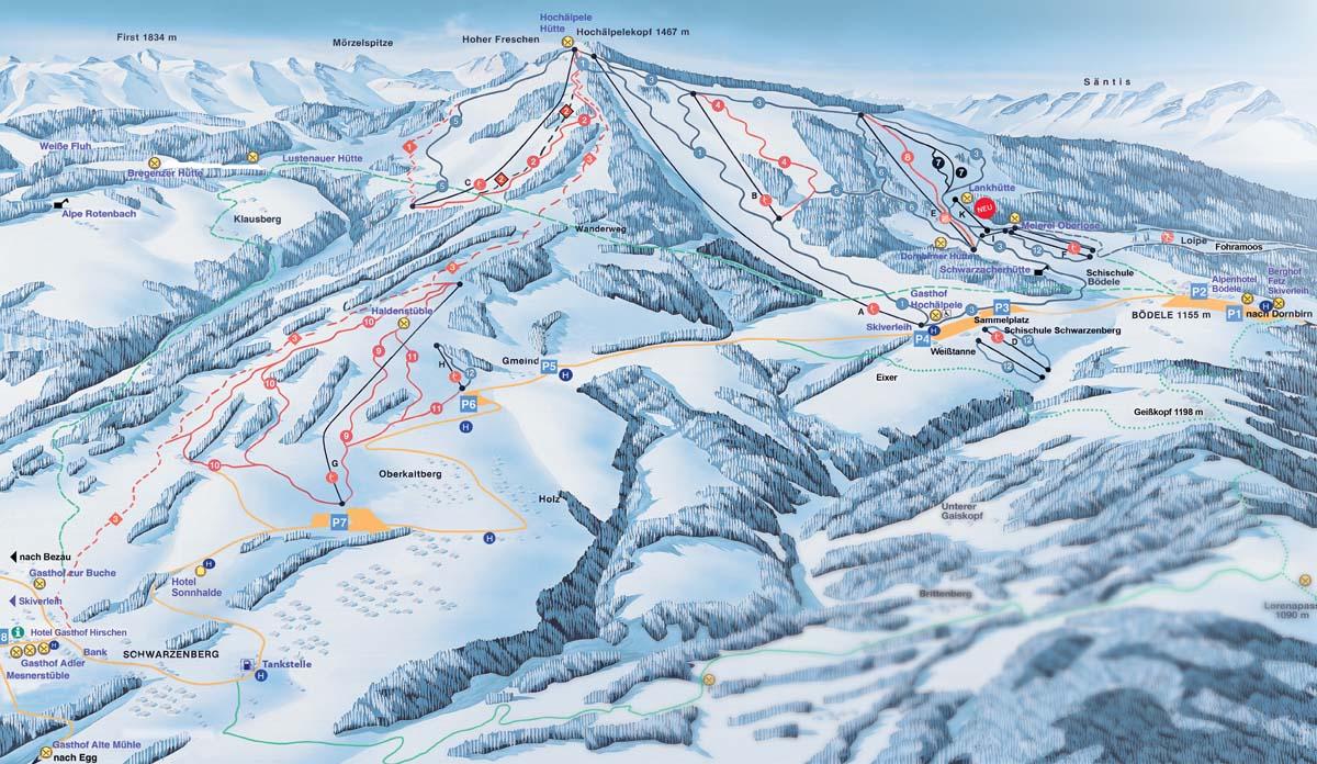 Схема трасс горнолыжного курорта Шварценберг-Боеделе