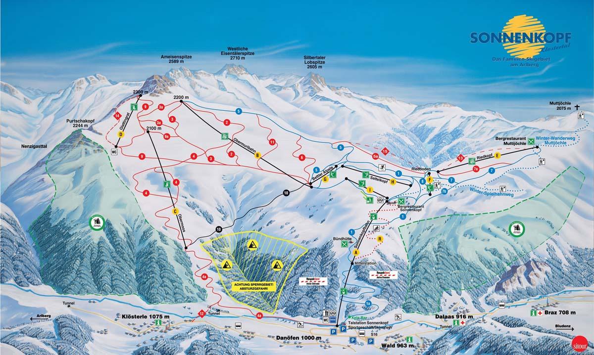 Схема трасс горнолыжного курорта Сонненкопф