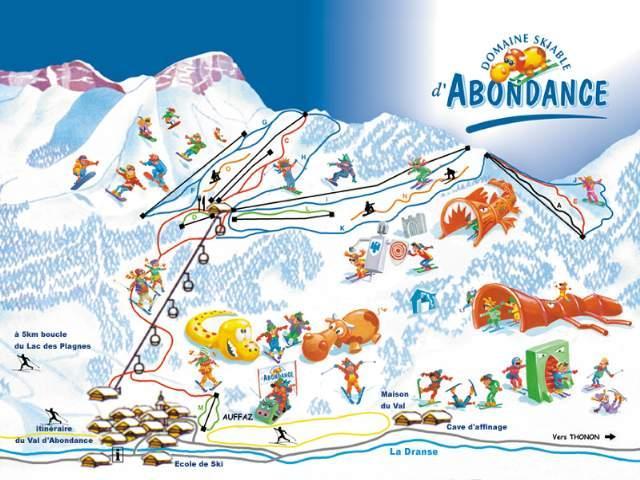 Схема трасс горнолыжного курорта Абонданс