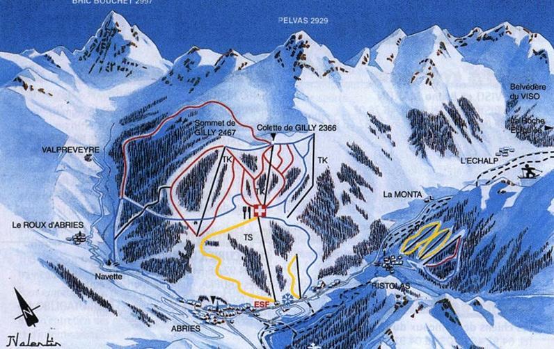 Схема трасс горнолыжного курорта Абри