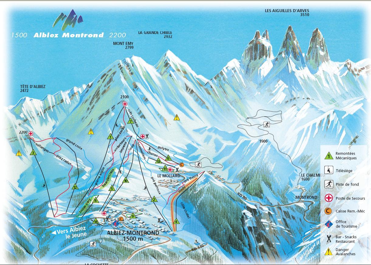 Схема трасс горнолыжного курорта Абьез Монтрон