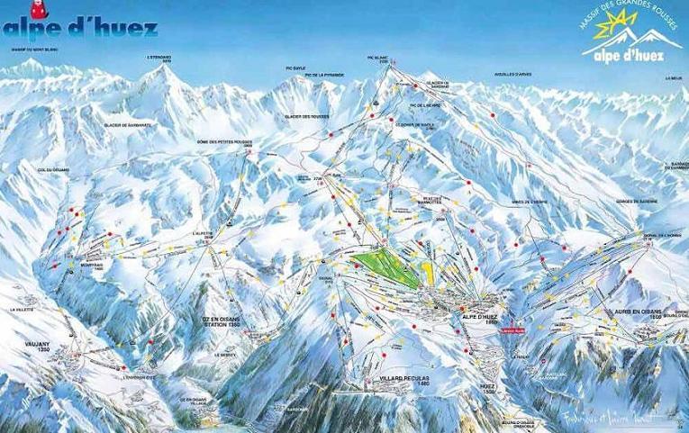 Схема трасс горнолыжного курорта Альп д'Юэз