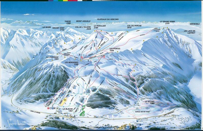 Схема трасс горнолыжного курорта Альп дю Гран Серр