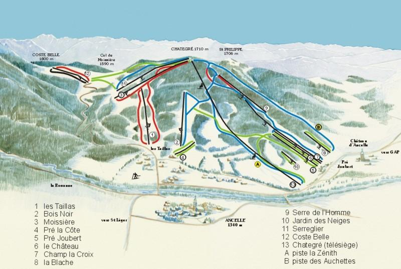 Схема трасс горнолыжного курорта Ансель