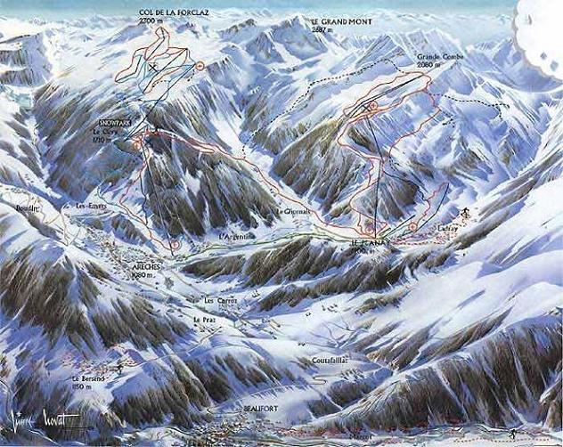 Схема трасс горнолыжного курорта Ареш Бофорт