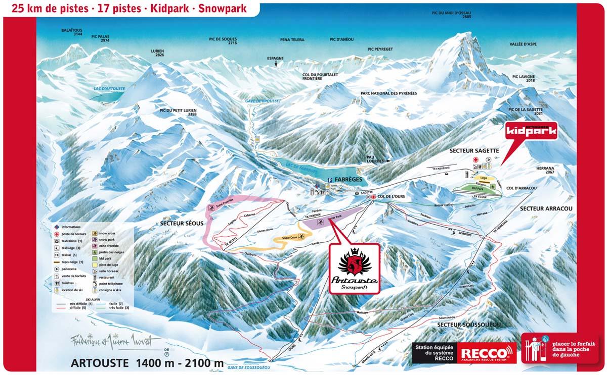 Схема трасс горнолыжного курорта Артуст - Фабреж