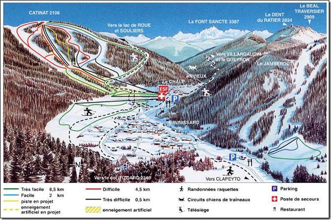 Схема трасс горнолыжного курорта Арвье
